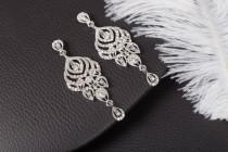wedding photo - LILIA Chandelier Vintage Crystal Bridal Earrings Long Victorian Style Earrings Wedding Jewelry drop wedding Silver 1920s Gatsby  Earrings