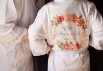 wedding photo - Flower Girl Lace Style Personalised Robe, Personalised Floral Robe, Bridal Party Robe, Bridesmaid Dressing Gown, Maid Of Honour Robe