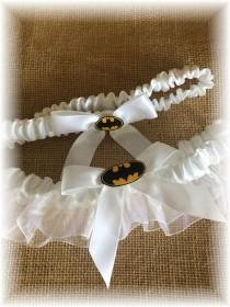 wedding photo - Batman Wedding Bridal Garter- White