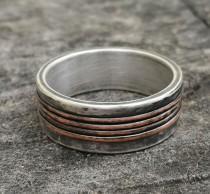 wedding photo - Rustic wedding band , Silver wedding band , Engagement ring,  handmade silver & Copper band, unique silver ring,  Studioadama, copper band