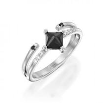 wedding photo - Black Diamond Engagement Ring, Unique Engagement Ring, White Gold Ring, Promise Ring, Statement Ring, Black Jewelry, Princess Cut Ring
