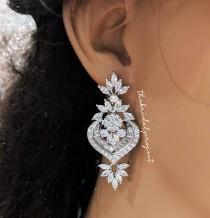 wedding photo - Bridal Earrings, Earring for Brides, Wedding Earrings,Jewelry, Silver Earrings,Cubic Zirconia Earrings, Chandelier Earrings,Teardrop Earring