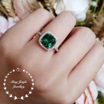 wedding photo - Cushion cut halo emerald ring, emerald engagement ring, cluster ring, white gold plated sterling silver, cushion ring, square ring