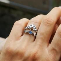 wedding photo - Sun and moon ring set, Moonstone ring, Crescent Moon Ring, Sunset Ring, sunrise ring, Sailor Moon ring