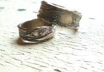 wedding photo - Wedding Bands His and Hers. Tree Bark Wedding Rings. Nature Inspired Jewelry. Couples Wedding Rings.