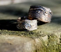 wedding photo - Nature Wedding Rings. Silver. GAER WOODS Artisan set  Tree Bark His and Hers  Wide bands 4mm White Sapphire nature jewelry