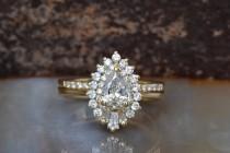 wedding photo - Cluster wedding ring set-Baguette wedding bands women-Diamond engagement ring vintage-Gold ring-Promise ring-Pear shaped diamond ring