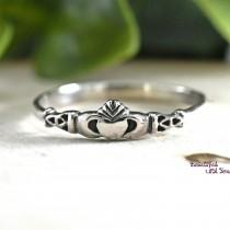 wedding photo - Irish Claddagh Ring Mother and Daughter Jewelry Rings Love Loyalty and Friendship Sterling Silver Present Gift Idea for Girls Childrens
