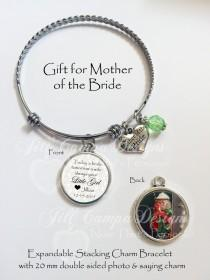 wedding photo - Mother of the Bride charm bracelet, Mother-of-the-Bride Gift, Gifts for Mom, Wedding Day Gift from Bride to Mom, Photo Charm Bracelet, MOB
