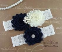 wedding photo - wedding Garter, Garter, Bridal Garter, Chiffon Navy Blue Garter, Sexy Garter, Lace Garter, Handmade Garter, Garter Set GTF0026DNB