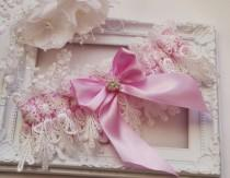 wedding photo - Pink Wedding Garter Bridal Garter Lingerie Garters Bridal Garters Venice Wedding Lace pink garter set bridal accessories ivory wedding garte