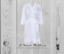 wedding photo - Bride's Robe/ Lace Trim Bridal Robe/ Getting Ready Robe With Monogram/ Wedding Robe