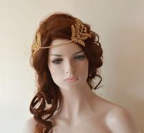 wedding photo - Gold Leaf Hair Vine, Bridal Hair Piece, Headpiece gold, Crystal Wedding headband, Bridal Hair Halo,  Wedding Hair Accessories For Bride