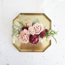 wedding photo - Flower Hair comb, Burgundy flower hair piece, Bridal hair comb, Bridal flower clip