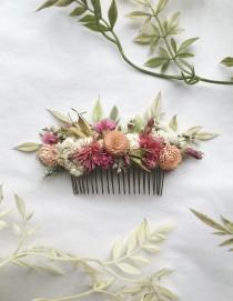 wedding photo - Hair Comb // Pink Dream // Dried Flowers