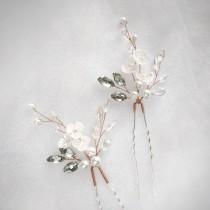 wedding photo - Rose gold hair pins for brides and bridesmaids. Bridal hair piece Baby's breath hair pins