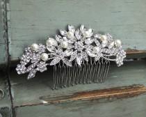 wedding photo - Crystal & Freshwater Pearl Hair Comb, Floral Bridal Comb, Silver Wedding Hair Comb, Swarovski Crystal Headpiece, Vintage Side Comb, CO-009