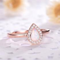 wedding photo - Pear Shaped Opal Engagement Ring CZ Diamond Halo 14k 18k Rose Gold 925 Sterling Silver Women Wedding Ring Minimalist Anniversary Gift Bridal