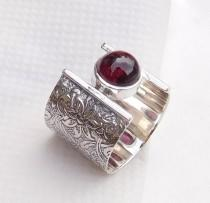 wedding photo - Engraved Ring, 925 Sterling Silver Garnet Ring, Unique Handmade Ring, Fine Silver Ring, Trendy Ring, Gorgeous Gift Ring-U068