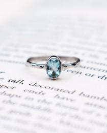wedding photo - Aquamarine engagement ring, March Birthstone sterling silver ring, round cut blue crystal, delicate anniversary ring