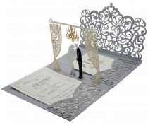 wedding photo - Silver 3D Pop Up Wedding Invitation. Custom Printed Laser Cut Wedding Invitation + RSVP Cards + Envelopes + Return Address labels