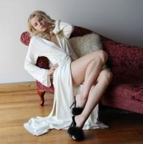wedding photo - womens long silk and cashmere stretch knit robe - made to order