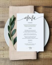 "wedding photo - Wedding Menu Template, Printable Menu Card, 5x7"" Wedding Menu Printable, Instant Download, Editable PDF, Edit Youself, WLP836"