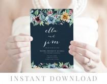 wedding photo - Navy Wedding Invitation INSTANT DOWNLOAD, Wedding Invite, DIY Printable Invitation, Templett, Editable pdf, Rustic Invites, Blue, Pepper