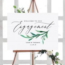 """wedding photo - Engagement Party Welcome Sign, Printable Engagement Welcome Sign 6 sizes included """"Wedding Greenery"""" Editable PDF"""