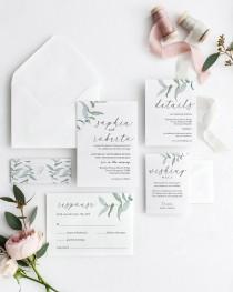 wedding photo - Greenery Wedding Invitation, Wedding Invitation template, Wedding Invitation Printable, Invitation Set, Invitation Download, Suite Word kit2