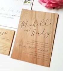 wedding photo - Real Wood Wedding Invitation Sample - Michelle Design