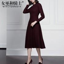 wedding photo -  Elegant Slimming Jersey Wool Burgendy Spring Flexible Dress Basics - Bonny YZOZO Boutique Store