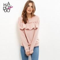 wedding photo -  Casual Vogue Frilled Accessories One Color Hoodie - Bonny YZOZO Boutique Store