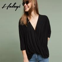 wedding photo -  Vogue Sexy Ruffle V-neck 3/4 Sleeves Crossed Straps One Color Fall Casual T-shirt - Bonny YZOZO Boutique Store