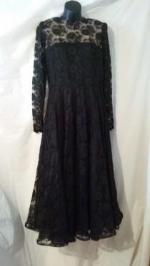 5616c3664a16 BIG ESTATE SALE-Vintage 80s Does 50s-Little Black Dress-Lace Cocktail Party  Evening-Fit   Flare-High End-38