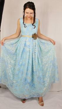 3ab1fd27a57d Long casual blue lace dress with golden details lace dress floral dress blue  dress long dress bridesmaids dress blue dresses for women