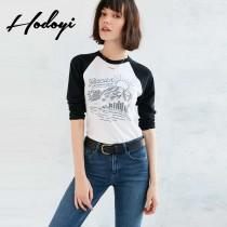 wedding photo -  New 2017 women autumn fashion loose jacket shirt printing self printing long sleeve t-shirt - Bonny YZOZO Boutique Store