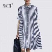wedding photo -  Striped shirt dress 2017 summer New Women's long paragraph Plus Size loose short sleeve dress - Bonny YZOZO Boutique Store