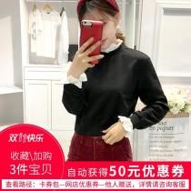 wedding photo -  Must-have Vogue Student Style Fall Casual Frilled 9/10 Sleeves Black Hoodie Top - Bonny YZOZO Boutique Store