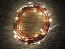 wedding photo - 100 LED Battery Operated Fairy Lights, 10M 33 feet,  Rustic Wedding Decor, Room Decor, Copper Wire Strand Warm White