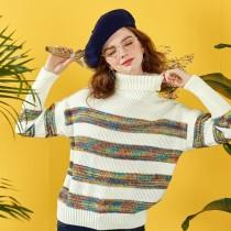 wedding photo -  Oversized Christmas High Neck Polo Collar Clolored Striped Top Sweater - Bonny YZOZO Boutique Store