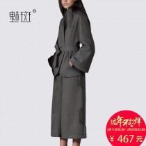wedding photo -  Vogue Hollow Out Capris Wool Outfit Twinset Wide Leg Pant Coat - Bonny YZOZO Boutique Store