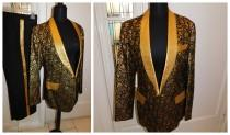 "wedding photo - Vintage Mens Brocade Gold Metallic Rat Pack Motown Suit Tux Suit Custom Tailored Jacket Slacks Set 38"" Chest 30"" Waist"