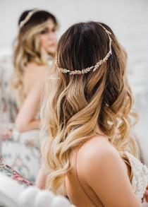 wedding photo - Bridal Halo, Bridal Hair Vine, Boho Wedding, Wedding Headpiece, Bohemian Headpiece, Bridal Headband Wedding Headband Gold- MILA