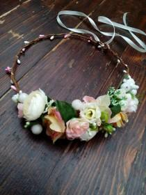 wedding photo - Ready to ship!  White or blush pink flower crown, Side Flower crown, wedding flower crown, bridal crown, bohemian crown