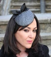 wedding photo - leopard mini hat, bow black hat, mini hat, round bow hat