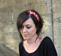 wedding photo - Red Nude Headband, Flowers Red and Pink Hairband, Fascinator Hat with flores, Wedding Flowers Headband, Small Nude and Red Flowers Hair