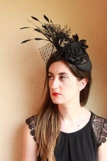 wedding photo - Black Fascinator ,Black Wedding Hat, black Flowers,Feathers Hat,Races Hat,Melbourne Cup Hat,AScot Hat,Derby Hat,Halloween gift