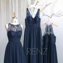 wedding photo - Navy Blue Mismatched Bridesmaid Dress,Wedding Dress,Illusion Lace V Neck Chiffon Maxi Dress,A-Line Sleeveless Prom Dress(H685/H686/H516A)
