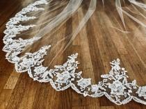 wedding photo - Cathedral veil, chapel lace veil, embroidered lace veil, lace at hem, floral lace, light ivory veil, diamond white veil, veil.